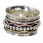 Stunning Sterling Silver Jewellery: Textured 'Worry' Ring with Wavy Copper and Brass bands