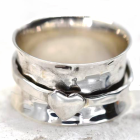 Stunning Sterling Silver Jewellery: Hammered 'Worry' Ring with Single Heart Design Spinning Band