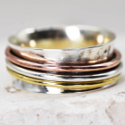 Beautiful Sterling Silver Jewellery: Spinning 'Worry' Ring with Copper and Brass Bands