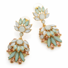 Fashion jewellery: Shiny gold colour mint green opal effect bead drop earring.