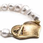 * NL: Stunning Danon Jewellery: Freshwater Pearl Bracelet with Golden Chunky Heart