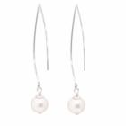 Long Sterling Silver Pearl Hook Earrings (50mm) (E189)