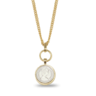 SALE: Danon Jewellery: Long Silver and Gold Glazed 5 Pence Coin Necklace (S166)