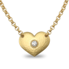 NL: SALE! Statement Danon Jewellery: Large Gold Hammered Heart Necklace with Swarovski Centre (DS76)