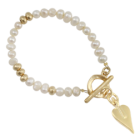 NL:  SALE! Glamorous Danon Jewellery: Gold and Freshwater Pearl Bracelet with Signature Heart Charm (DS39)