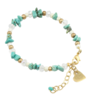 LAST ONE SALE: Semi-Precious Danon Jewellery: Turquoise Chip, Pearl and Crystal Beaded Bracelet with Small Gold Loveheart (DS48)