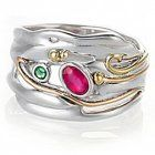 Beautiful Sterling Silver and Gold Ring with Ruby and Emerald Stones