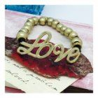 "SALE Fashion Jewellery: Black Cord and Gold Bead ""Love"" Affirmation Bracelet (S476G)"