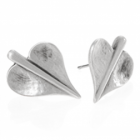 * Handmade Danon Jewellery:  Lilypad Shape Heart Stud Earrings (22mm x 15mm)
