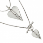 NL: Danon jewellery: Long Silver Double Sided Heart Danon Necklace with Crystal on one side