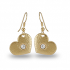 SALE Danon Jewellery: GOLD Loveheart Earrings with Swarovski Crystal Centres (Hearts Measure 20mm x 18mm) (DS104)