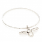 * NEW DANON JEWELLERY LARGE Burnished Silver BEE CHARM BANGLE