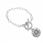 * Danon jewellery: New Burnished silver Sunflower  flower T-bar bracelet