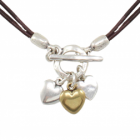 SALE Danon Jewellery: Chic Double Cord Brown Leather Necklace with Multi-Tone Hearts