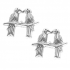 Sterling Silver Jewellery: Little Lovebird Studs (10mm x 9mm) (E13)