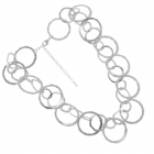 Statement Fashion Jewellery: Chunky Linked Circle Necklace in Worn Silver Tone (M156)