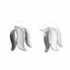 Elegant Fashion Jewellery: Triple Curving Design Stud Earrings in Matt Metallic Grey, White and Shiny Silver (11mm x 14mm) (R645)