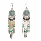 Festival Fashion: Boho Multi Tone Beaded Drop Earrings (70mm x 12mm) (M153)