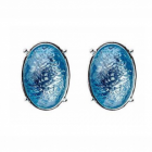 Simple Costume Jewellery: Pretty Blue and Silver Stud Earrings (10mm x 15mm) (M148)