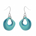 Bright and Bold Costume Jewellery: Glossy Aqua Blue Curved Round Drop Earrings (35mm drops) (M141)