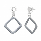 Contemporary Fashion Jewellery: Matt Grey Rhombus Drop Earrings (3.8cm x 2.6cm) (R707)