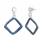 Contemporary Fashion Jewellery: Matt Blue Rhombus Drop Earrings (3.8cm x 2.6cm) (R284)