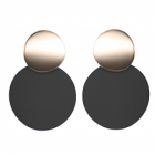 Fabulous Fashion Jewellery: Statement Double Circle Stud and Drop Earrings with Rose Gold and Matte Black Neoprene Rubber Finish (4cm x 3cm) (YK221)