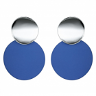 Fabulous Fashion Jewellery: Statement Double Circle Stud and Drop Earrings with Shiny Silver and Deep Royal Blue Neoprene Rubber Finish (4cm x 3cm) (YK220)