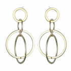 Statement Fashion Jewellery: Interlinking Circles Drop Earrings in Shiny Yellow Gold Finish (6cm x 3cm)(YK217)