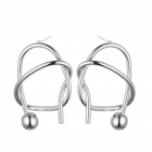 Contemporary Fashion Jewellery: Irregular Geometric Knot Stud Earrings with Ball Detail in Shiny Silver Tone (3cm x 2cm) (YK215)