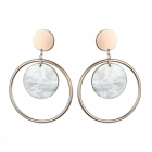 Statement Fashion Jewellery: Large Circle Design Earrings in Rose Gold Tone with Cloudy Grey Marble Effect Disc Detail (6cm x 4.5cm) (YK225)
