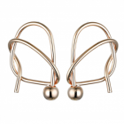 Contemporary Fashion Jewellery: Irregular Geometric Knot Stud Earrings with Ball Detail in Shiny Rose Gold Tone (3cm x 2cm) (YK214)