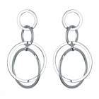 Statement Fashion Jewellery: Interlinking Circles Drop Earrings in Shiny Silver Finish (6cm x 3cm)(YK216)