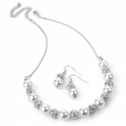 Fashion Jewellery: Silver and cream pearl colour crystal necklace and earring set.