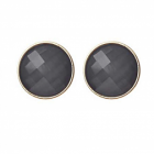 Bold Costume Jewellery: Large 2cm Round Studs with Faceted Smoky Grey Stones (M154)