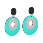 Statement Fashion Jewellery: Drop Earrings with Large Translucent Green and Silver Circles (7.5cm x 5.5cm) (YK228)
