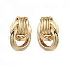 Stunning Fashion Jewellery: Chunky Linked Gold Circles Stud Earrings (3cm x 2.4cm) (YK108)