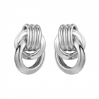 Stunning Fashion Jewellery: Chunky Linked Silver Circles Stud Earrings (3cm x 2.4cm) (YK122)