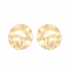 Statement Fashion Jewellery: Extra Large Hammered Gold Circle Stud Earrings with Wavy Edges (3.6cm) (YK132)