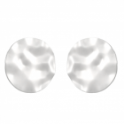 Statement Fashion Jewellery: Extra Large Hammered Silver Circle Stud Earrings with Wavy Edges (3.6cm) (YK142)