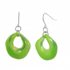 Bright and Bold Costume Jewellery: Glossy Peridot Green Curved Round Drop Earrings (35mm drops) (M142)