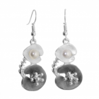 Floral Fashion Jewellery: Multi-Tone Stylised Magnolia Flower Earrings with Long Stamens and Pearl Details (Full Drop 50mm) (R652)