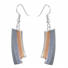 Contemporary Fashion Jewellery: Matt Metallic Grey and Yellow Curved Earrings (Full Drop incl Hook: 50mm) (R637)