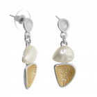 Contemporary Fashion Jewellery:  Earrings with Textured Soft Gold and White Concave Teardrops and Pearls (38mm x 14mm) (R655)