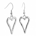 Beautiful Fashion Jewellery: Long Pointed Silver Curved Heart Outline Dangly Earrings (Design: 29mm x 16mm) (R653)