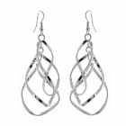 Beautiful Costume Jewellery: Drop Earrings Made From Linked Curving Teardrops (7cm Drops) (M182)