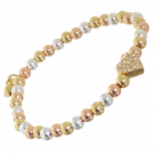 Rue B Costume Jewellery: Silver gold and rose Bracelet with Crystal Heart (M178)