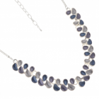 Contemporary Fashion Jewellery: Matt Grey, Purple and Blue Repeated Teardrop Motif Necklace (R255)