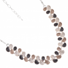 Contemporary Fashion Jewellery: Matt Grey, Coffee and White Repeated Teardrop Motif Necklace (R267)