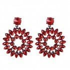 Glamorous Costume Jewellery: Bold yet lightweight Red Crystal Statement Earrings (59mm x 44mm) (M470)